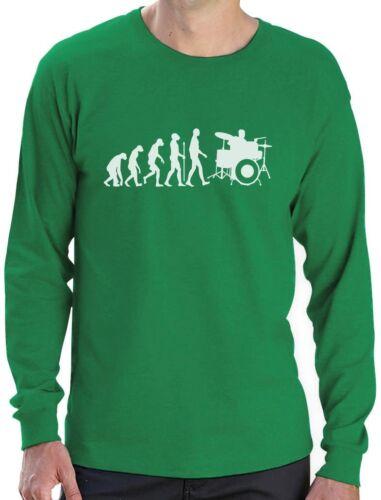 Funny Drums Humor Gift Idea Long Sleeve T-Shirt Band Drummer Evolution