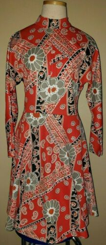 1960's Paisley Print Dress Vintage Polyester Size