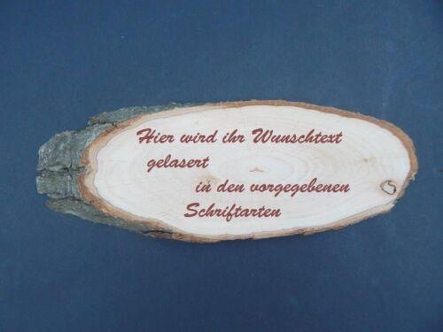 Türschild 200-230 mm mit Wunsch Gravur Baumscheibe ca Holz