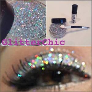 Glitter-Eye-Shadow-Chunky-Holographic-Silver-LARGE-10g-Fix-Gel-Glitter-Eyes