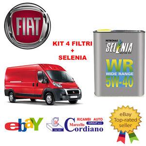 KIT-4-FILTRI-TAGLIANDO-FIAT-DUCATO-2-3-MJT-250-96-KW-131-CV-SELENIA-WR-5W40