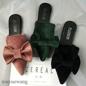 Womens-Bowknot-Slip-on-Loafers-Flats-Pointy-toe-Casual-Slippers-Shoes-Mules-Chic