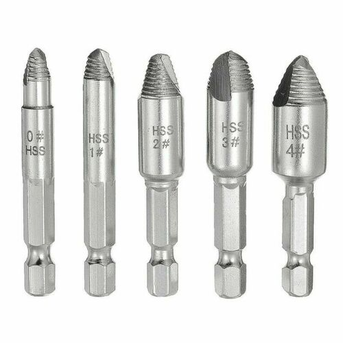 5PCS Screw Extractor Set Easy Out Drill Bits Guide Broken Screws Bolt Remover