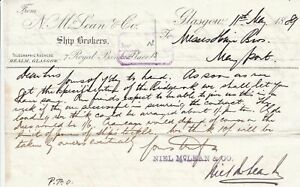 Glasgow 1889 From N. McLean & Co. Ship Brokers to May Port Letter Ref 35878