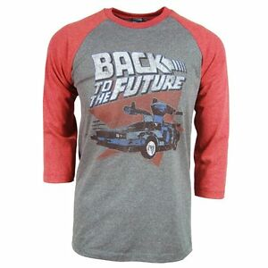Mens-Official-Retro-Back-To-The-Future-Raglan-T-Shirt-Grey-NEW-Mcfly