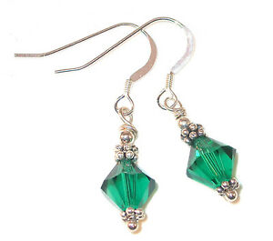 EMERALD-Green-Crystal-Earrings-Sterling-Silver-MAY-Birthstone-Swarovski-Elements