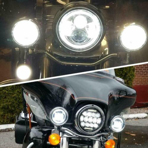 "85W 7/"" INCH LED Headlight Ring Mount for Harley Touring 4.5/"" Passing Lights"
