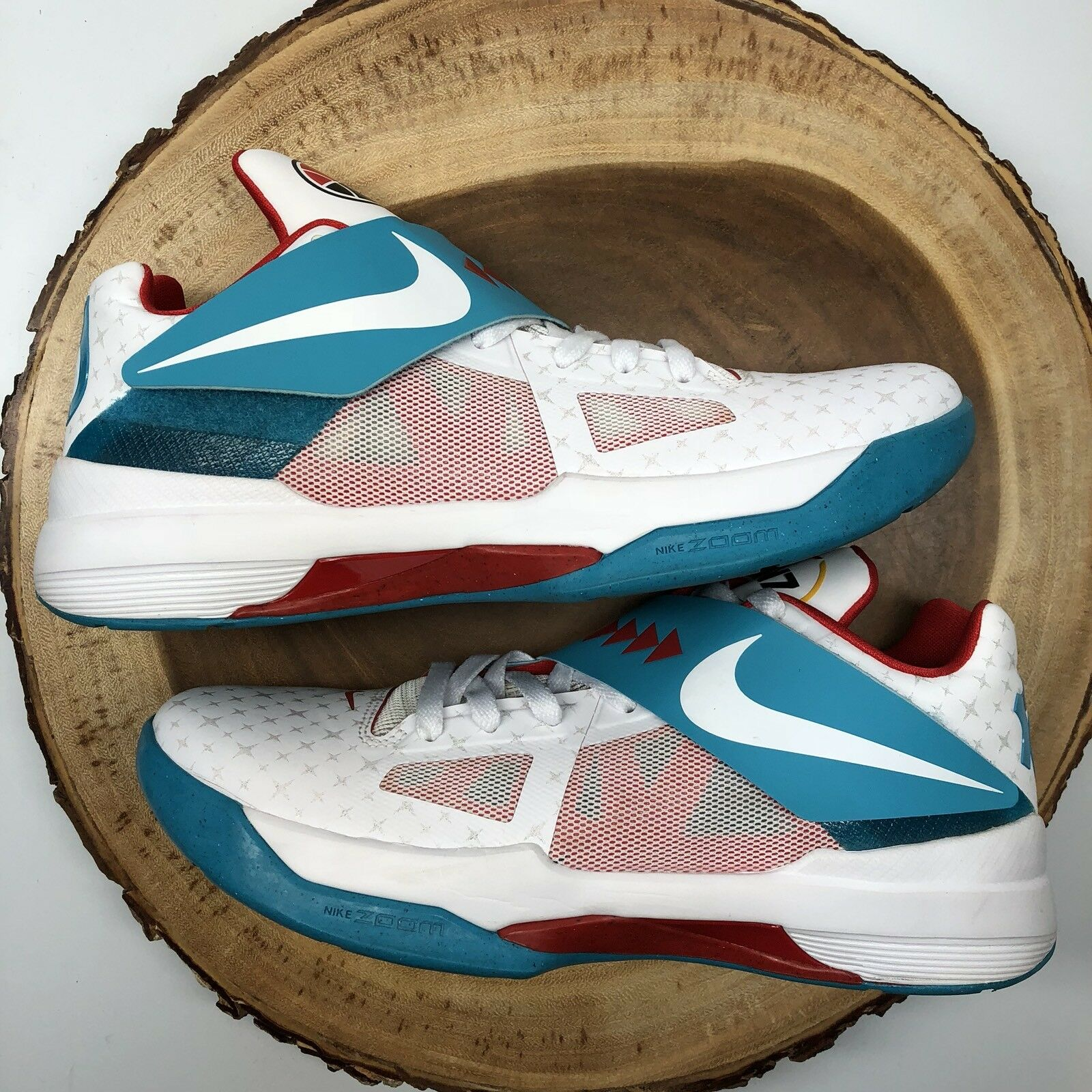 2012 Nike Zoom KEVIN DURANT KD IV 4 N7 HOME WHITE TURQUOISE BLUE RED BLACK 9.5