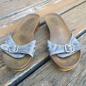 a9dd701c7 Details about Dr Scholls Blue Black Denim Glossy Slip On Sandals Womens 8 Mules  Slides Shoes
