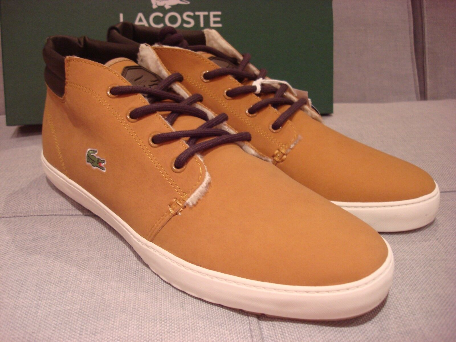 LACOSTE MEN'S AMPTHILL TERRA PUT FLEECE DARK TAN SIZE 11.5 SHOES - BRAND NEW