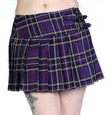 Banned TARTAN Pleated Girls Short Mini Skirt Checked Rock 8 10 12 14 16 Purple