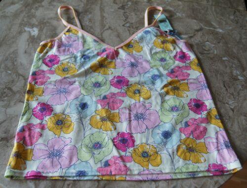 Antonia Ghazlan Pink Blue Green Yellow Floral Open Back Cotton Camisole//Vest