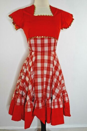 Vintage Western square dance Red Swing Dress XS
