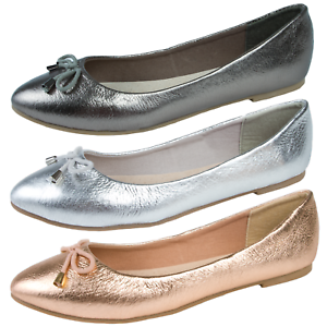 5b429937e615 Image is loading Womens-Leather-Ballet-Pumps-Flat-Ballerinas-Slip-On-