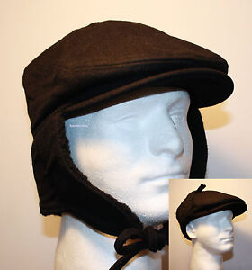 80e26316cfe74 SOLID BLACK FLAT IVY WOOL GATSBY WINTER HAT WITH EAR FLAP TIES URBAN ...