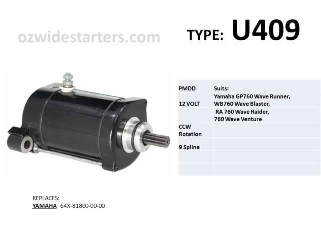 Yamaha starter motor suits GP760, XL760, RA760, wave runner/raider/blaster 760cc