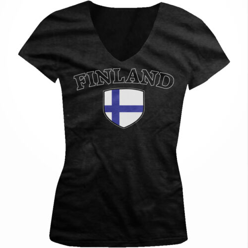 Finland Flag Crest Finnish Suomi National Country Pride Juniors V-neck T-shirt