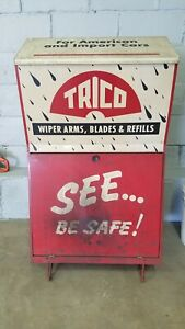 Vintage TRICO WINDSHIELD WIPER BLADE DISPLAY Cabinet Service Station Cart Wheels