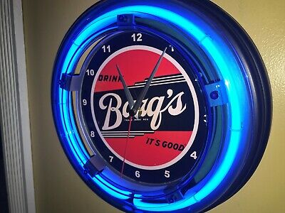 Barq's Root Beer Soda Fountain Diner Bar Man Cave Blue Neon Wall Clock Sign  | eBay