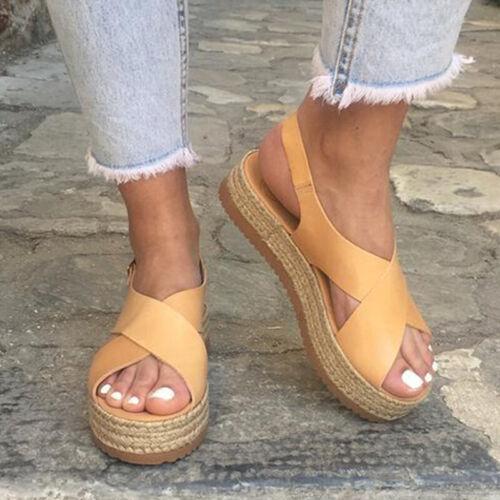 Women Ankle Strap Platform Wedge Espadrilles Summer Beach Comfy Sandal Shoe Size