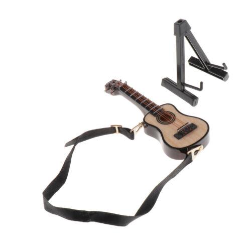 1//12 Dolls House Miniature Wooden Guitar Model 8cm w// Holder Room Furniture