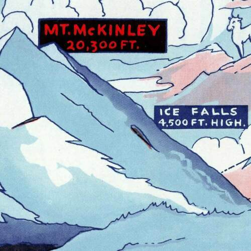 "McKinley National Park Mt Alaska MAP circa 1937-24/"" x 32/"" Art Print Poster"