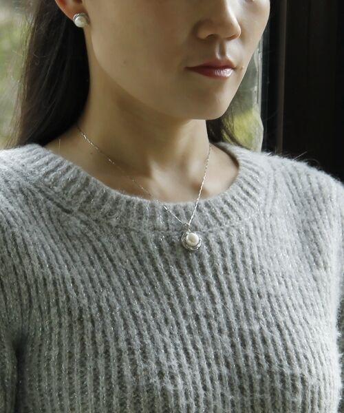 Collar Colgante perla cultivada whiteo silver Enorme 925 La Flor pink TZ