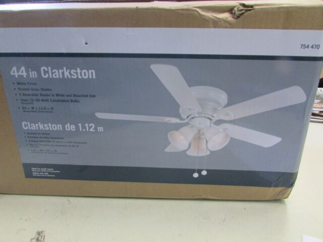 Clarkston 44 In Indoor White Ceiling Fan With Light Kit Amp Reversible Blades For Sale Online Ebay