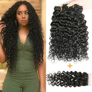 Details about Peruvian Virgin Water Wave Hair Bundles With 4*4 Free Part  Lace Closure US Stock