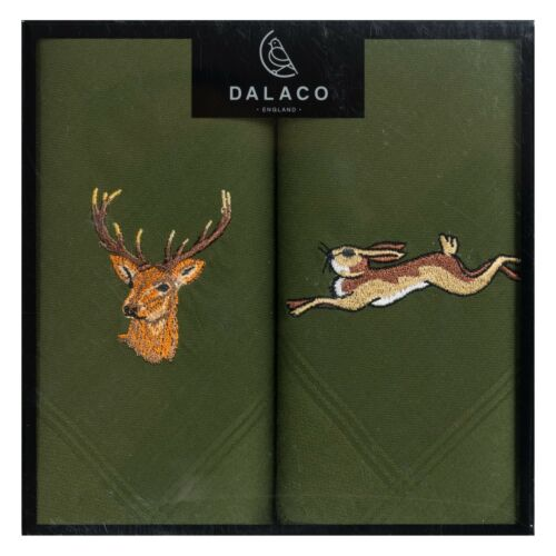Embroidered Green Stag and Hare Handkerchiefs stalking shooting hanky present