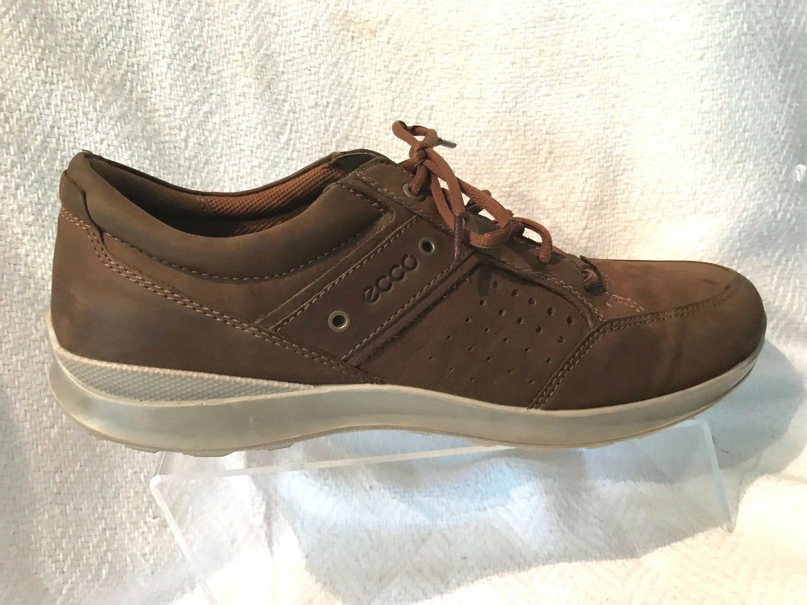 Ecco Brown Suede Leather Casual Comfort Lace Up Derby Loafers Mens 46 US 12-12.5