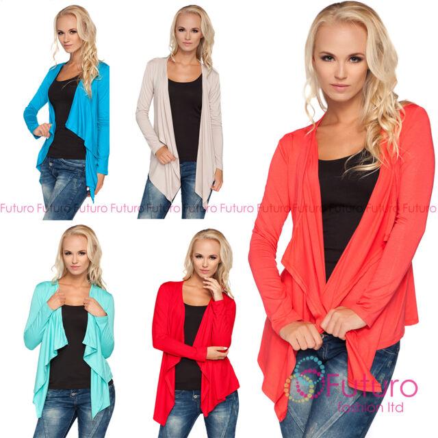 Ladies Waterfall Blazer Long Sleeve Cardigan Shrug Bolero Plus Sizes 8 - 18 0526