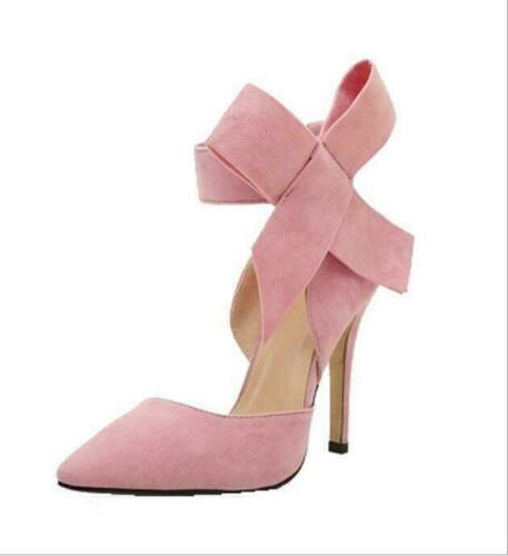 Women Bow-Knot Ankle Strap Sandals Sweet Ladies Point-Toe High Heels Shoes Pumps