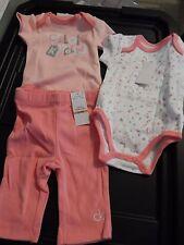 Calvin Klein Infant Baby girls' melon/2 bodysuit/pants 3pc set, SZ 0-3 months