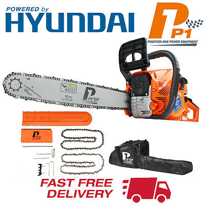 "Petrol Chainsaw 62cc 3.5HP Hyundai Engine 20"" Bar & 2 Chains & Carry Bag P6220C"