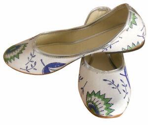Women-Shoes-Indian-Handmade-Jutties-Leather-White-Ballerinas-UK-2-5-EU-35