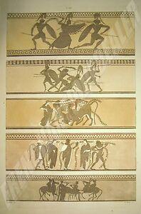 Friezes Griechische Zeichnung Stackelberg Gravur G Tataki Aquarelle Deb 19. Jhd.