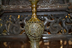 Fine-antique-19th-century-Chinese-bronze-reticulated-vase-highly-decorated-c1850