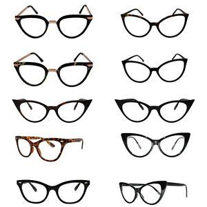 24d1358a95 VTG 50s 60s Style Clear Lens Cat Eye Office Geek Retro Rockabilly ...