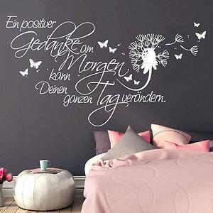 11146 wandtattoo schriftzug positive gedanken schmetterling pusteblume aufkleber ebay. Black Bedroom Furniture Sets. Home Design Ideas