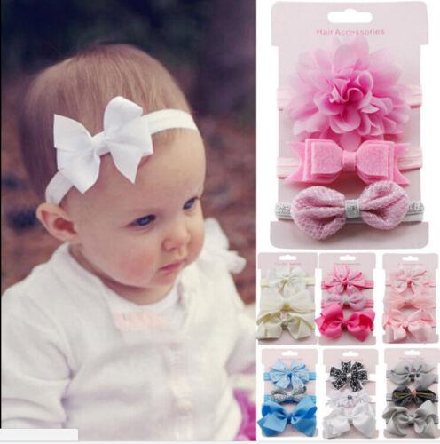 3x//Set Newborn Girl Bow Headband Ribbon Elastic Baby Headdress Kids Hair Band HC