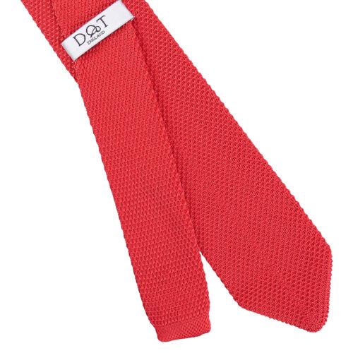 DQT Knit a Maglia Semplice Tinta Unita Rosso Cravatta Sottile Da Uomo Casual