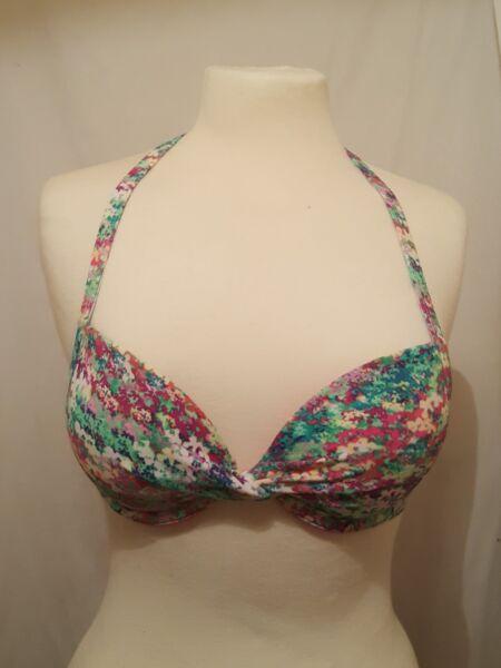"""""""matalan"""" Dietro Il Collo Bikini Top. Taglia 32b. Stampa Floreale Multicolore."""