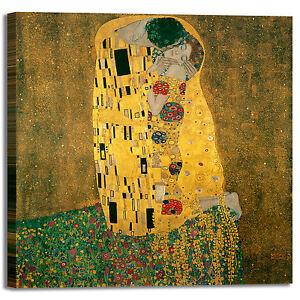 QUADRO GUSTAV KLIMT L/'Abbraccio Stampa su tela Canvas effetto dipinto