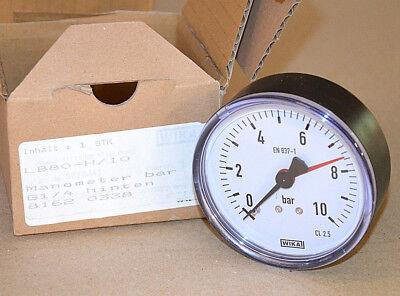 Temperamentvoll Wika Manometer Lb80-h/10 81620338 0-10bar G1/4 Anschluss Hinten Neu New