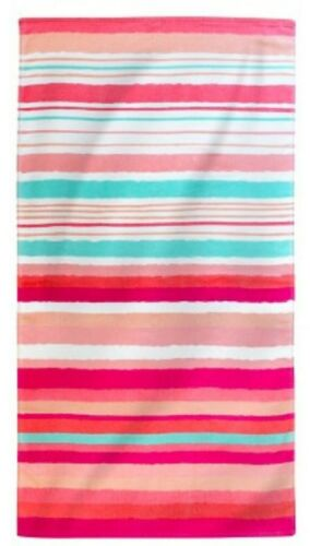 *NEW* *Set of 2* Pink Blue Fish Green Striped Life of the Party Beach Bath Towel