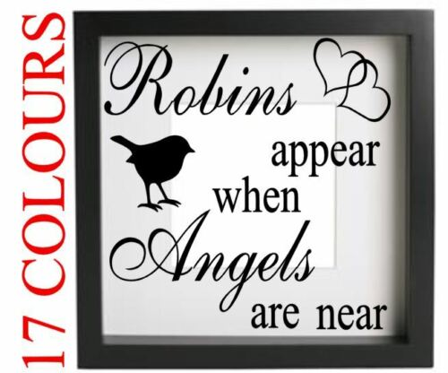 Robins Appear When Angels Are Near Vinyl Decal Sticker Box Frame Wall Memory Art