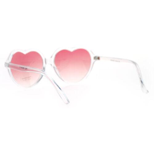 Heart Love Clear Frame Sunglasses Cute Retro Fashion Color Gradient Lens