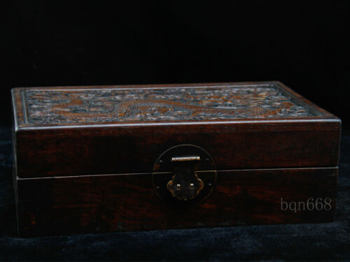 old china antique handcarved Huanghuali Wood dragon box /& lock