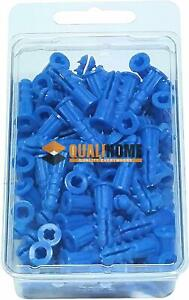 Premium-Quality-Blue-Ribbed-Plastic-Wall-Anchors-for-Drywall-100-Pack-10-12-x